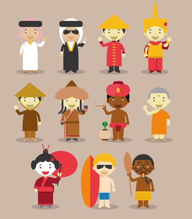 maories: Ni�os y nacionalidades vector del mundo: Asia y OceaniaAustralia septiembre 3. Conjunto de 11 personajes diferentes vestidos con trajes nacionales 9 de Asia Arabia Saudita, Irak, China, Camboya, Vietnam, Mongolia, India, Nepal y Jap�n y 2 de Australia Vectores