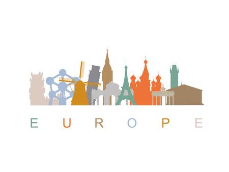 belem: Europe landmarks skyline silhouettes.