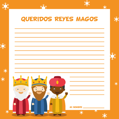 wise men: Three Wise Men letter template illustration for Christmas time in Spanish, with child characters. Illustration