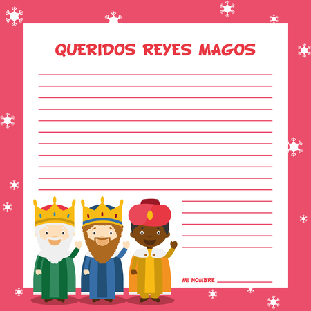 birth of christ: Three Wise Men letter template illustration for Christmas time in Spanish, with child characters. Illustration
