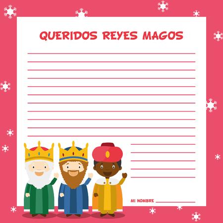 jesus birth: Tres hombres sabios ilustración plantilla de carta para la época de Navidad en español, con personajes infantiles.