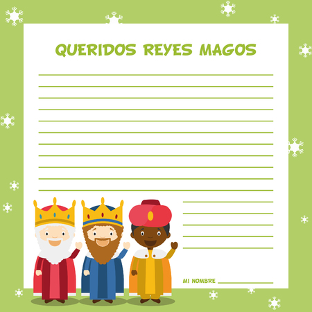 melchior: Three Wise Men letter template illustration for Christmas time in Spanish, with child characters. Illustration