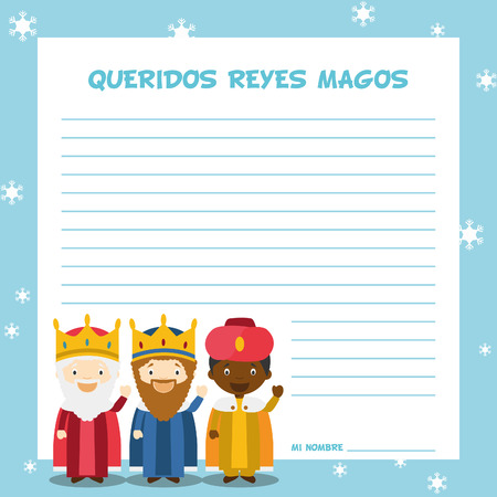 Three Wise Men letter template illustration for Christmas time in Spanish, with child characters. Çizim