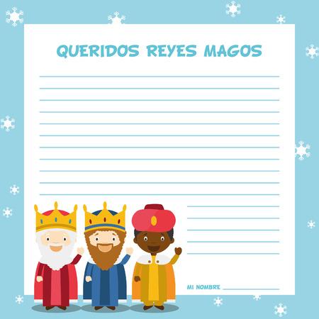 letras de oro: Tres hombres sabios ilustración plantilla de carta para la época de Navidad en español, con personajes infantiles.