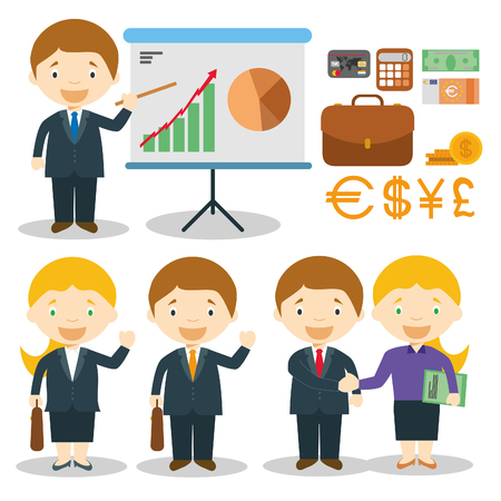 credit card business woman: Businessman and businesswoman characters illustration Illustration