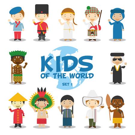 Los niños de la ilustración del mundo Foto de archivo - 49610608