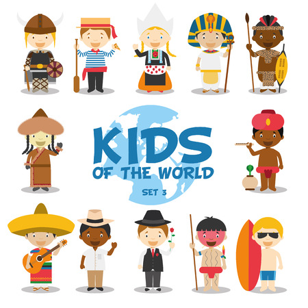 world group: Kids of the world illustration