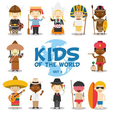 Los niños de la ilustración del mundo Foto de archivo - 49610610