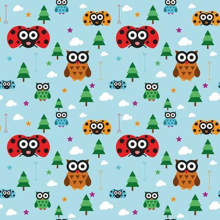 ladybird: Seamless owl and ladybird kids animal pattern  Illustration