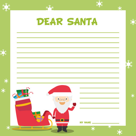 lapland: Santa Claus letter template vector illustration for Christmas time, with child character Illustration