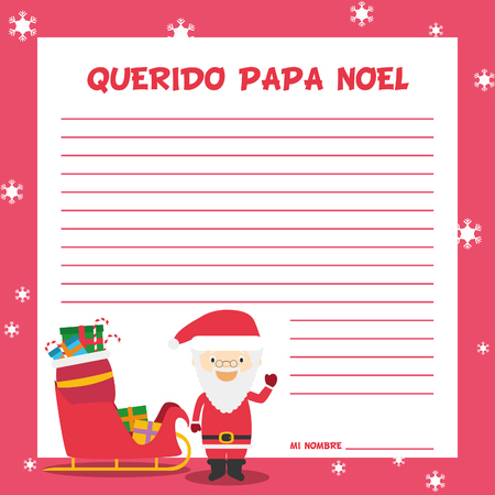 lapland: Santa Claus letter template vector illustration for Christmas time in Spanish