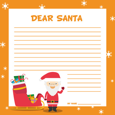 lapland: Santa Claus letter template vector illustration for Christmas time, with child character, sled and presents.