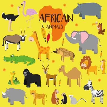 jirafa cartoon: Conjunto de vectores animales africanos.