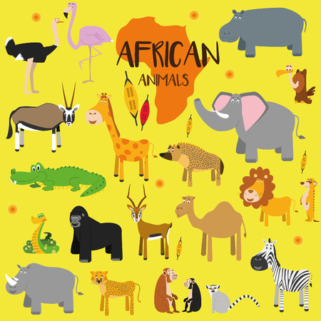 nashorn: Vektor-Set afrikanische Tiere.