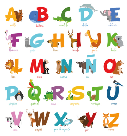 alphabet letter a: Cute cartoon illustrated alphabet with funny zoo animals.