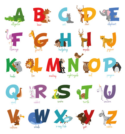 Cute cartoon illustrated alphabet with funny zoo animals.