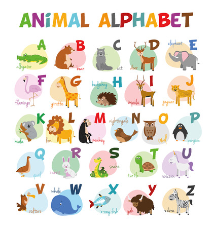 alligators: Cute cartoon illustrated alphabet with funny zoo animals.