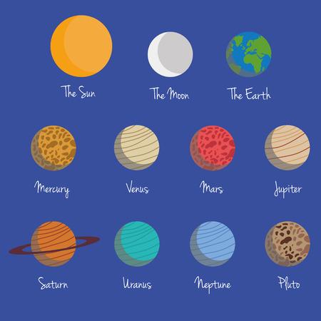 sonne mond und sterne: Planeten des Sonnensystems Vector Illustration Set, mit dem Mond und der Sonne, in dunkelblauen Hintergrund. Isolierte Elemente.