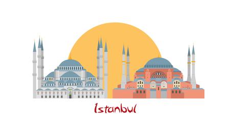 hagia sophia: Istanbul banner illustration with Hagia Sophia and Blue Mosqu