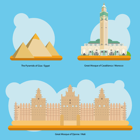 Vector illustration of Monuments and landmarks in Africa Vol. 1: The Pyramids of Giza Egypt, Great Mosque of Casablanca Morocco and Great Mosque of Djenne Mali. EPS 10 file-compatible and editable.