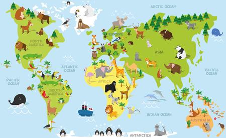 Rolig tecknad världskarta med traditionella djur av alla kontinenter och hav. Vektor illustration för förskoleundervisning och barn utformning