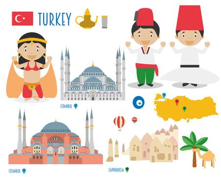 hagia sophia: Turkey Flat Icon Set Travel and tourism concept. Vector illustration