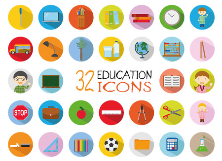 32: 32 Education Icons Set. Colorful, flat style vector Illustration.