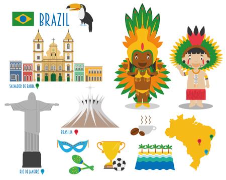 brasilia: Brazil Flat Icon Set Travel and tourism concept. Vector illustration