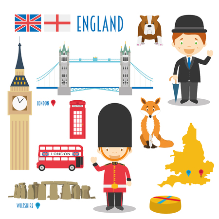 uk map: England Flat Icon Set Travel and tourism concept Vector illustration