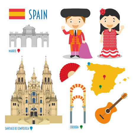 Flat reizen en toerisme pictogram Spanje set begrip vector illustratie