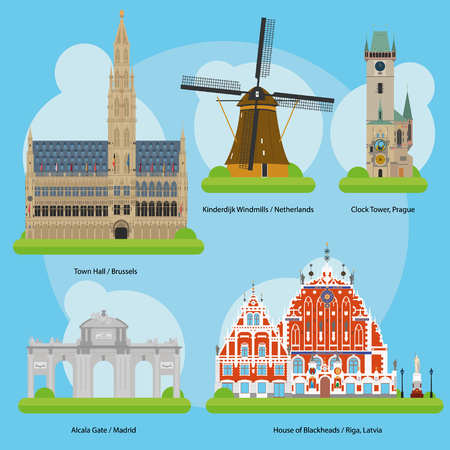 town hall: Vector illustration of Monuments and landmarks in Europe Vol. 3: Brussels Town Hall Belgium, Netherlands Kinderdijk Windmills, Clock Tower Prague, Czech Republic, Alcala Gate Madrid, Spain and House of the Blackheads Riga, Latvia. EPS 10 file-compliant an Illustration