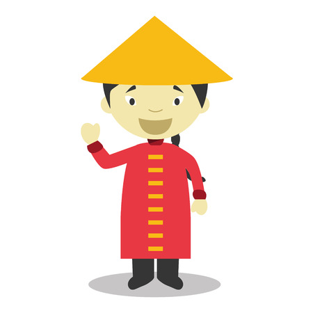 vestment: Character from China dressed in the traditional way Vector Illustration Illustration