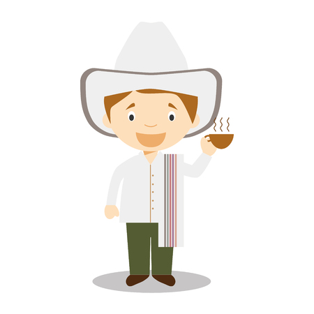 vestment: Character from Colombia dressed in the traditional way with a cup of coffee in His Hand. Vector Illustration. Kids of the World Collection. Illustration