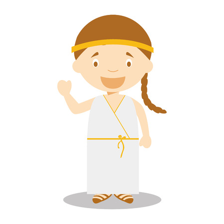 vestment: Character from Greece dressed in the traditional way will the Classical Greece. Vector Illustration. Kids of the World Collection. Illustration