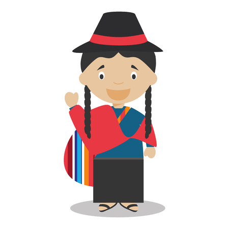 vestment: Character from Ecuador dressed in the traditional way Vector Illustration Illustration