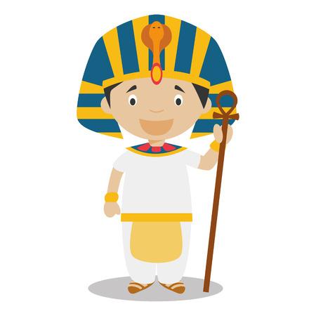Carácter de Egipto vestido de la manera tradicional como un faraón del antiguo Egipto. Ilustración del vector. Los niños de la colección del mundo.