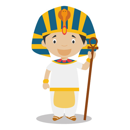 egyptian culture: Character from Egypt dressed in the traditional way as a pharaoh of the Ancient Egypt. Vector Illustration. Kids of the World Collection.