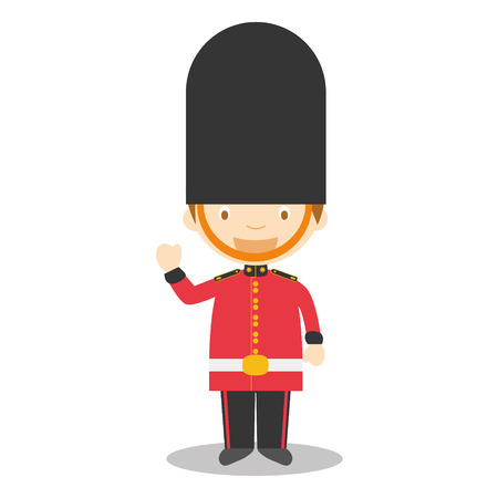 royal person: Character from England. Royal Guard boy dressed in the traditional way Vector Illustration