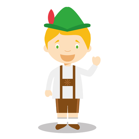 typical: Character from Germany dressed in the traditional Bavarian way. vector Illustration