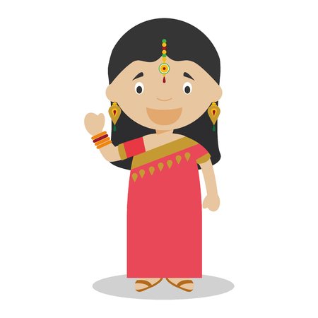 typical: Character from India. Indian girl dressed in the traditional way With sari. Vector Illustration. Kids of the World Collection.