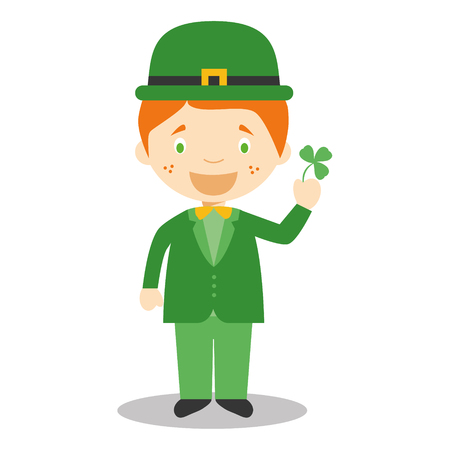vestment: Character from Ireland dressed in the traditional way with a clover. Vector Illustration. Kids of the World Collection.