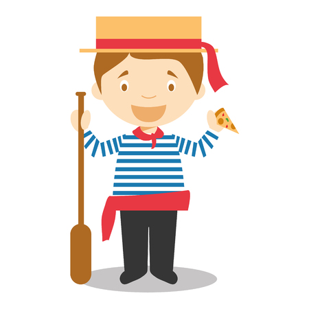 Character from Italy dressed in the traditional way as a gondolier Venice eating pizza. vector Illustration