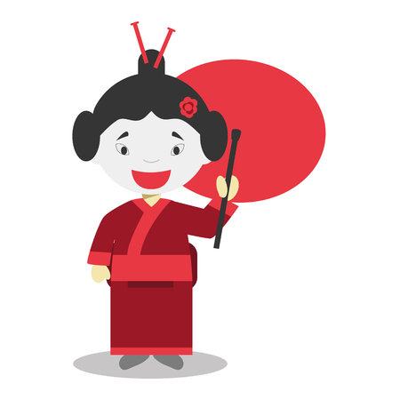 typical: Character from Japa dressed in the traditional way Vector Illustration. Kids of the World Collection.