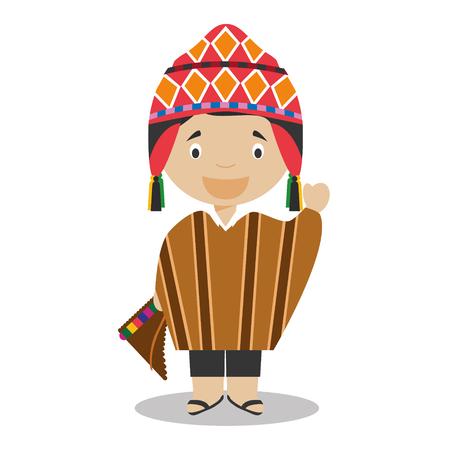 페루에서 문자 전통적인 방법으로 벡터 일러스트 레이 션에 옷을 입고있다. 세계 컬렉션의 아이.