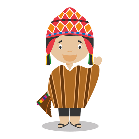 pan flute: Character from Peru dressed in the traditional way Vector Illustration. Kids of the World Collection.