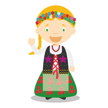 vestment: Character from Poland dressed in the traditional way Vector Illustration. Kids of the World Collection.