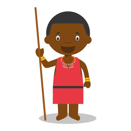 ケニアのマサイ族の伝統的な方法で服を着てからの文字。ベクトル イラスト  イラスト・ベクター素材