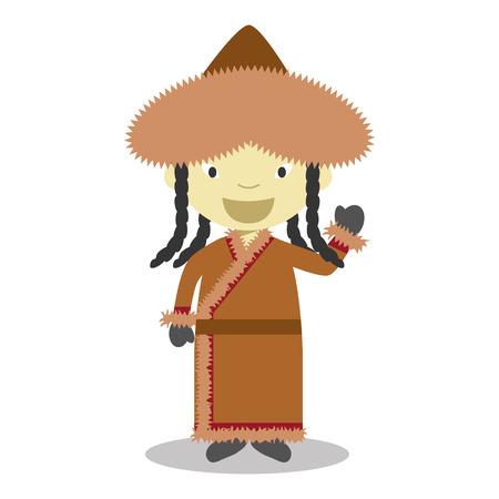 ベクトル図の従来の方法で服を着てモンゴル文字