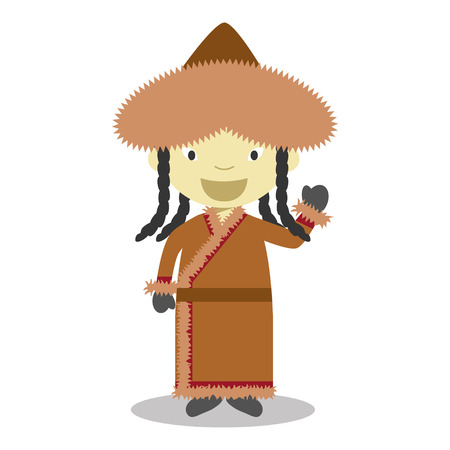 Character from Mongolia dressed in the traditional way Vector Illustration Vettoriali