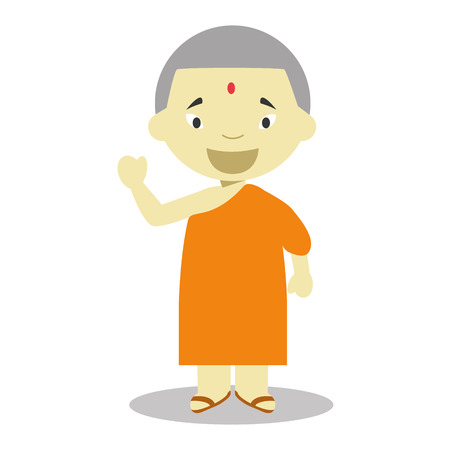 nationalities: Buddhist from Nepal character dressed in the traditional way Vector Illustration. Kids of the World Collection.